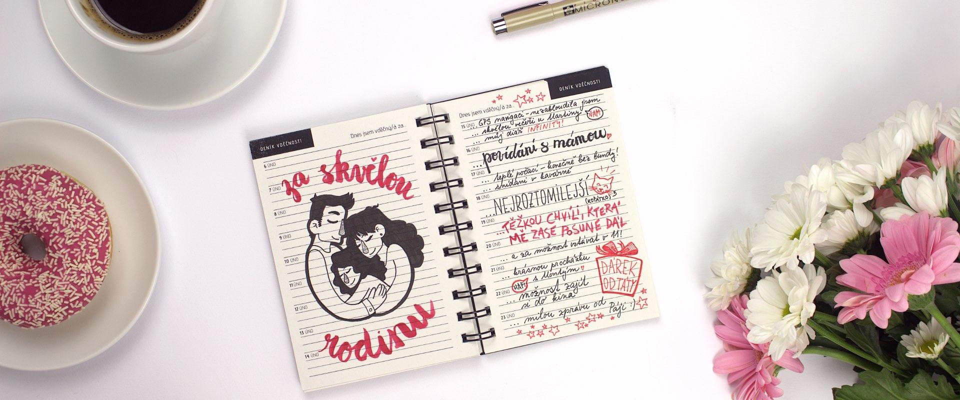 Motivační diář s deníkem vděčnosti
